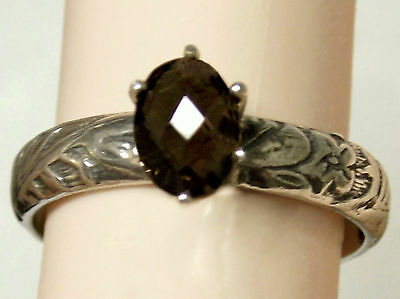 natural brown smoky quartz deco antique 925 sterling silver ring size 6.5 USA