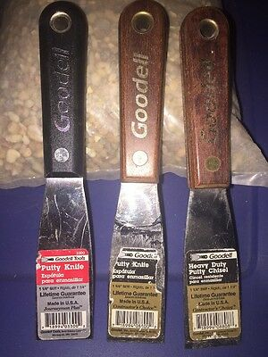 """(3) Putty Knives  1 1/4"""" Goodell"""