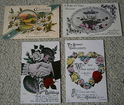 Four Christmas Greeting Postcards - Early Century