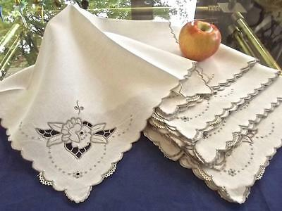 """12 Vintage Madeira Linen 19"""" Fancy Napkins Cutwork Taupe Hand Embroidered Lace"""