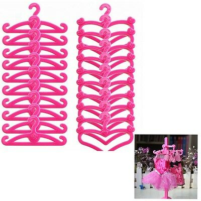 50 Mix Pink Plastic Hanger Holder For Barbie Doll Clothes Dress Accesories Gift
