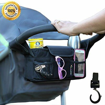 Stroller Organizer With Stroller Hook, Baby Cup Holders & Accessories Bag, New