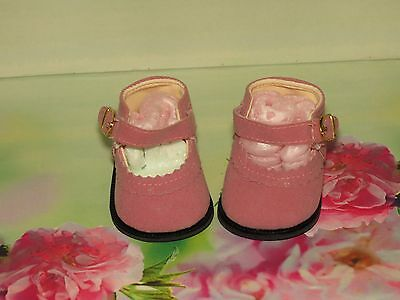 Shoes To Fit The Galoob Baby Face American Girl Doll Pink Suede Maryjane