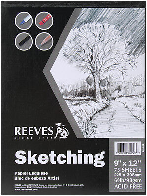 "Reeves Sketching Paper Pad 9""X12"" 75 Sheets 8490531"