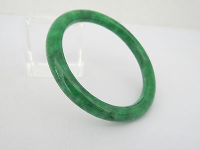 Vintage Translucent Natural Emerald Green Jade Jadeite Bangle Bracelet 57MM