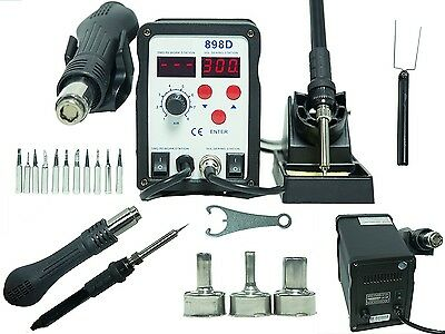 2in1 898D SMD Rework Station & Soldering Iron w/11 Tips, 3 Nozzles CANADA SELLER