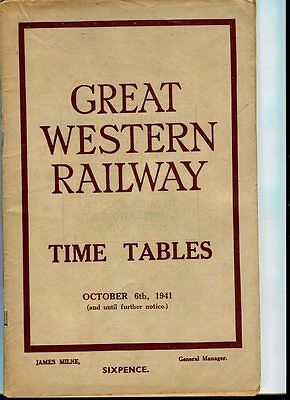 Great Western Railway: G.W.R. : Time Tables book: October, 1941