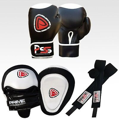 Boxing Gloves Sparring Fight Training Punch Bag Focus Gel Pads Hand Wraps Set 2