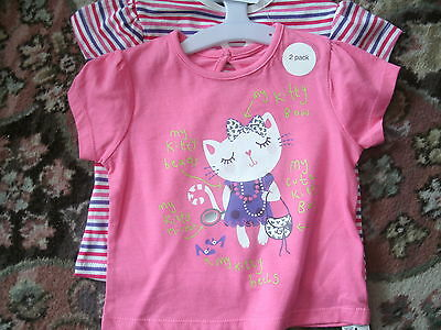 set of 2 baby girl's t shirts-kitty/pink/striped. bnwt. size 0-3months.