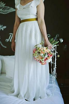 VINTAGE 1930s WHITE COTTON FULL LENGTH WEDDING DRESS GOWN SIZE SMALL