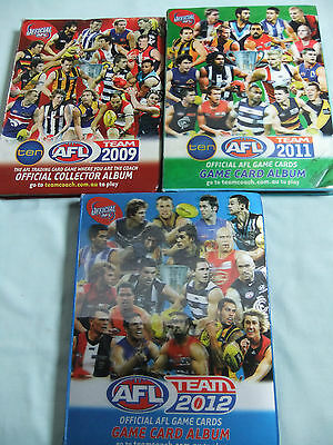 AFL Football game card albums 2009, 2011 and 2012 with cards