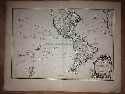 NORTH & SOUTH AMERICA DATED 1772 by JANVIER & LATTRE LARGE COPPER ENGRAVED MAP