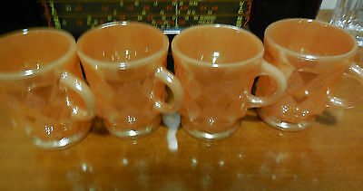 Anchor Hocking 4  Fire King Coffee Cups -   PEACH LUSTRE vgc #2