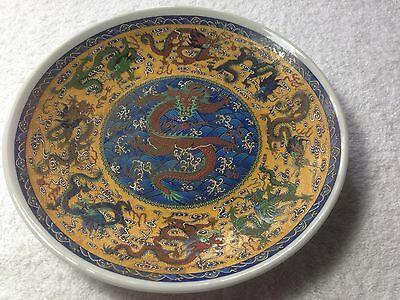 Antique Chinese Porcelain Famille Rose Dragon Plates Signed