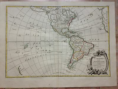 NORTH & SOUTH AMERICA 1st ED 1762 by JANVIER & LATTRE LARGE COPPER ENGRAVED MAP