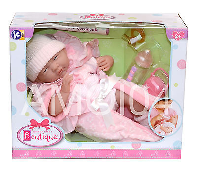 "Berenguer Boutique 15.5"" inch Baby Doll Birth Certificate, Pacifier, Bottle *New"