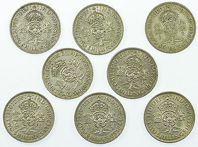 Great Britain, George Vi Florin Collection, Silver, 8 Coins, 1938-1945