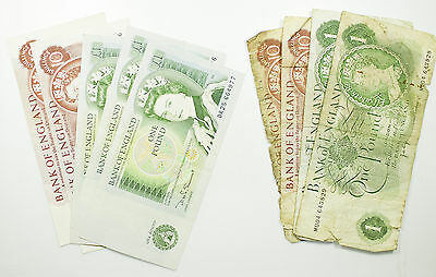 Banknote Collection, Great Britain, £1 X5, 10/- X4, 9 Notes