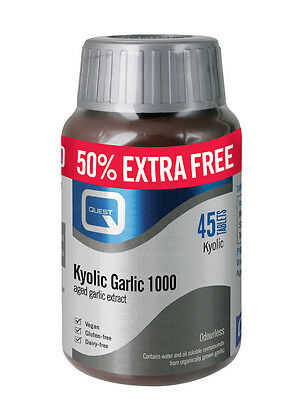 Quest Kyolic Odourless Garlic 1000mg 45 Tablets EXTRA VALUE PACK