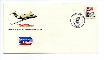 USA - 1982 Cover for First Flight Canadair Challenger