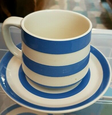 T g green cornishware cup and saucer blue white