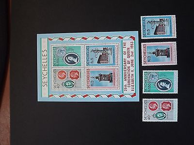 SEYCHELLES M/S + SET OF 4 MINT STAMPS 25th ANNIVERSARY OF THE CORONATION