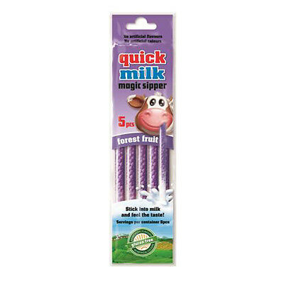 Quick Milk Magic Sipper Forest Fruits 5 Straws / Pack 30g ( 1.0 oz ) New Flavor
