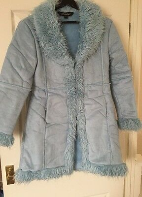 11-12 Years Children's Blue Faux Shearling Long Coat BRAND NEW WITHOUT TAGS