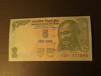 India 5 Rupee Bank Note Uncirculated 2010