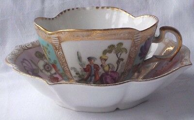 Late C18Th / Early C19Th Meissen Augustus Rex Cup & Saucer With Various Pictures