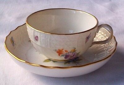 Small C19Th Meissen Hand Painted Cup & Saucer Flowers, Insects Relief Moulding