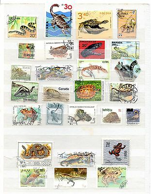 Reptiles, amphibians and the like stamp mix - 25 different
