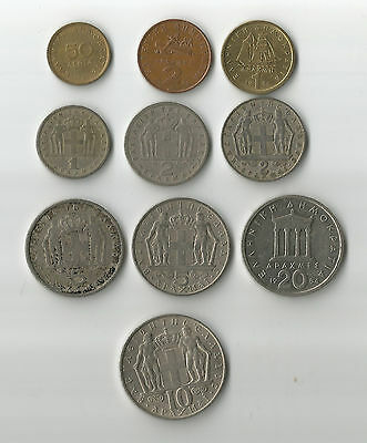 Greece 10 old pre Euro Greek coins all are different