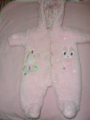 baby girls zip zap pink fluffy hooded warm sleepsuit age 0-3 mth