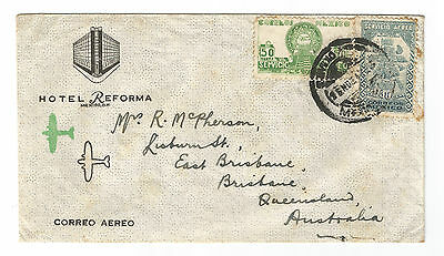 Old stamped envelope Mexico Hotel Reforma stationery to Brisbane