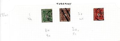 Tuscany - 3 used postage stamps from 1860 set