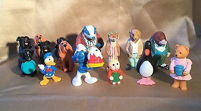 collection of 15 small figures, Smurf, donald duck, wind in the willows & others