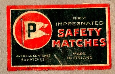 FPA OLD MATCHBOX LABELS-FINLAND no46- P-Safety Matches
