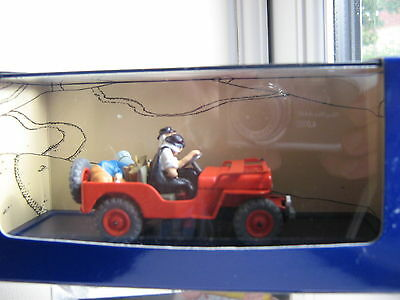 Tintin -  Red Jeep -  Au Pays De L'or Noir.   Diecast Willys Mb.