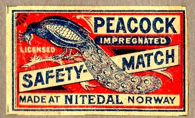 FPA OLD MATCHBOX LABELS-NORWAY no50- Peacock