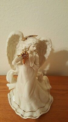 Christmas  Musical Angel Plays Silent Night,White, Gold Porcelain ,Beautiful!