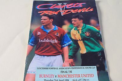 Burnley v Manchester Utd Youth cup final 1994 Football Programme