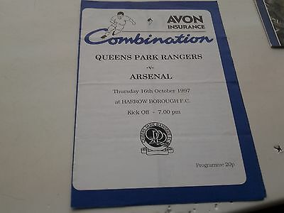 queens park rangers v arsenal 97.98 Reserves Avon ins lge