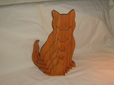 Hand Made Wooden 3 Dimensional Nested Cat Sculpture Figurine Puzzle