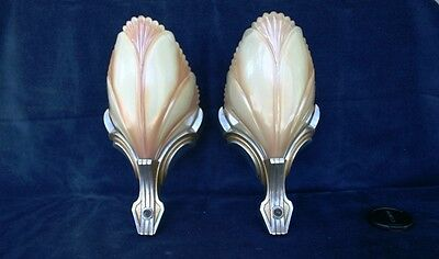 Vintage Antique Slip Shade, Batwing Sconces, Beautiful Caramel Iridescent Shades