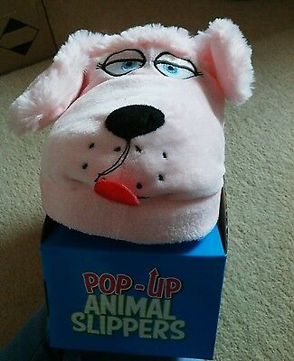 New pop up animal slippers fits upto size 5 pink dogs