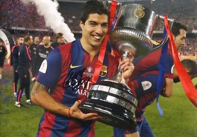 Signed Huge Luis Suarez Barcelona Photo With Proof