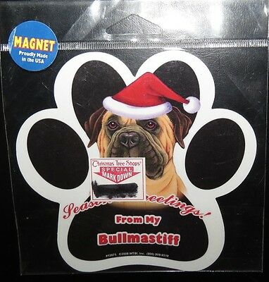 Seasons Greetings From My Bullmastiff ~ Waterproof Dog Paw Magnet - Made in USA