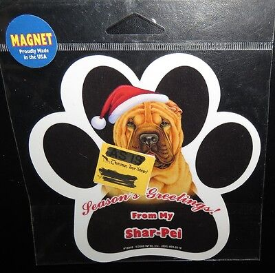 Shar Pei Seasons Greetings  Waterproof Dog Paw Magnet - Made In USA  NEW