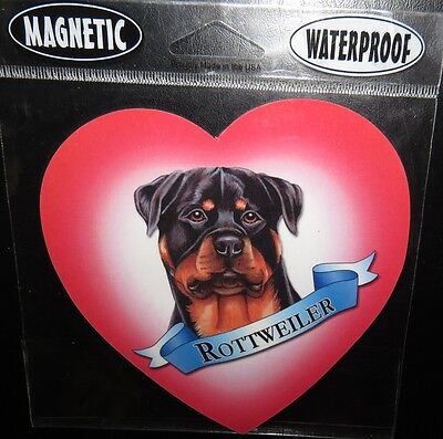 Rottweiler Love Heart ~ Waterproof Dog Paw Magnet - Made In USA ~ NEW